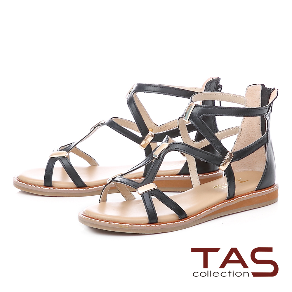 TAS羅馬風素面長型金屬後包涼鞋-實搭黑