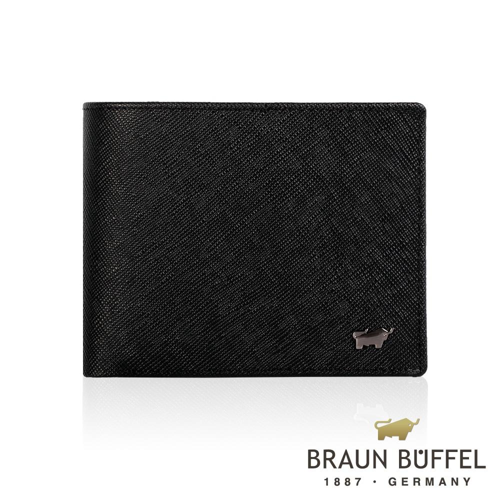【BRAUN BUFFEL】德國小金牛 洛非諾III系列8卡中翻零錢皮夾/BF314-318-BK