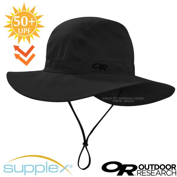 【美國 Outdoor Research】Ferrosi Wide-Brim Hat 抗UV防曬大盤帽子.圓盤帽(UPF50+.附帽繩)登山健行/自行車跑步帽/264398 黑