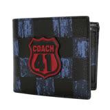 COACH藍黑棋盤格41盾牌貼飾二合一男夾/短夾