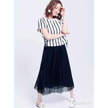 CANTWO細褶條紋網紗裙黑色款