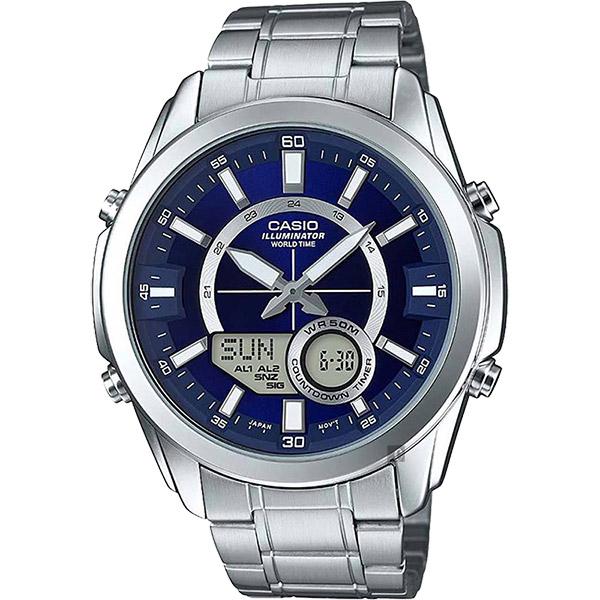 CASIO 卡西歐 10年電力 世界時間雙顯手錶-藍x銀 AMW-810D-2AVDF / AMW-810D-2A