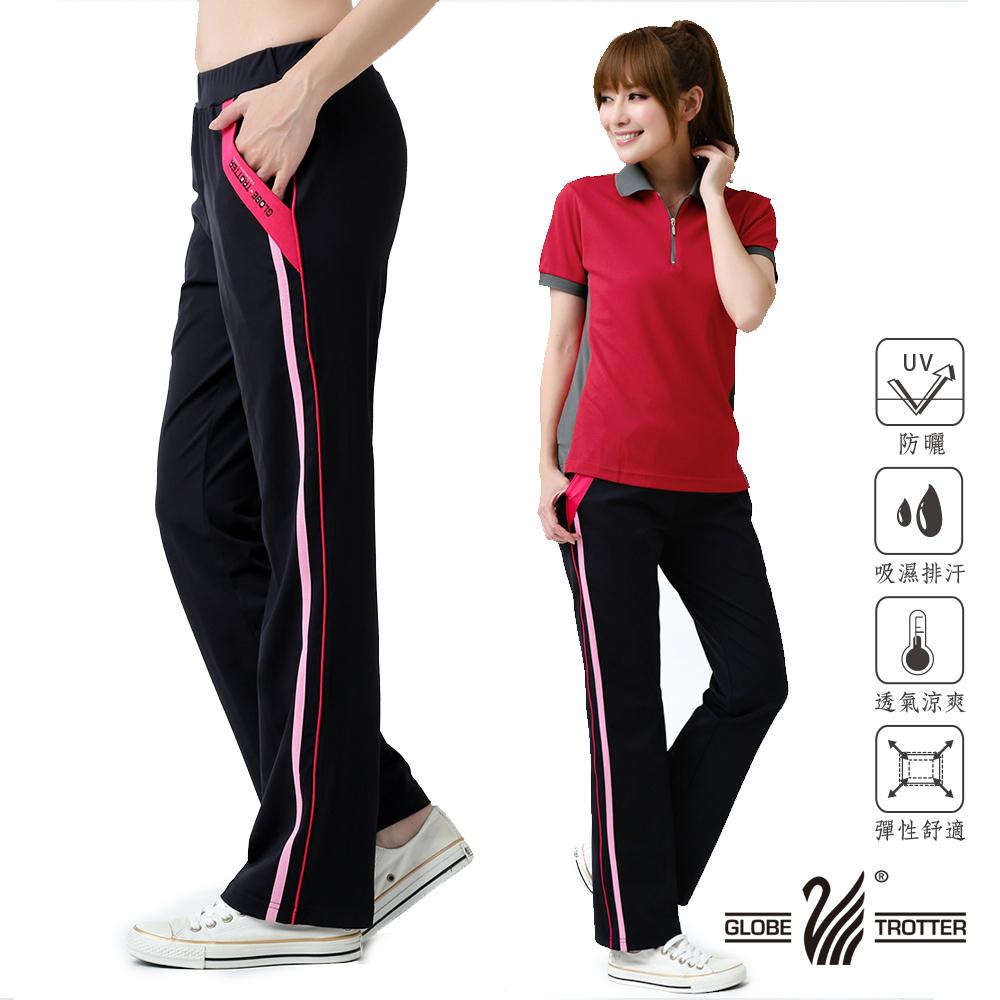 【遊遍天下】MIT女款抗UV彈性休閒伸縮長褲P126黑色