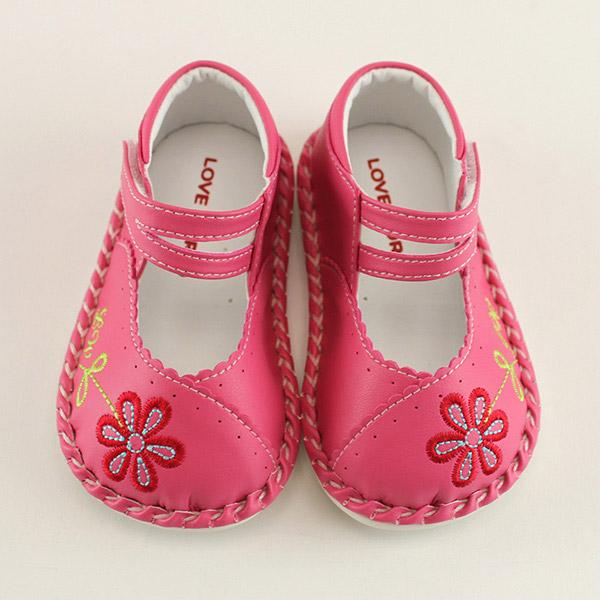 【愛的世界】LW森林花朵寶寶鞋/學步鞋(桃紅)-台灣製-