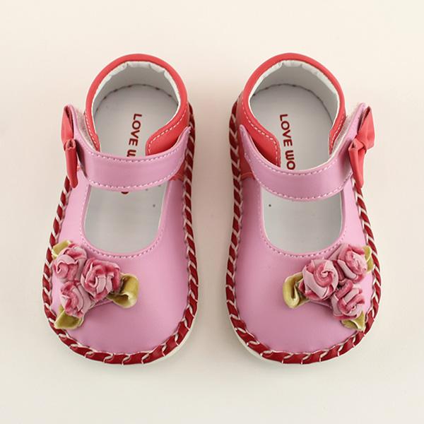 【愛的世界】LW玫瑰花寶寶鞋/學步鞋(粉色)-台灣製-