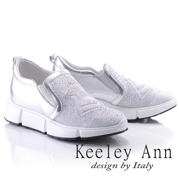Keeley Ann個性玩酷~水鑽星星造型網紗真皮厚底休閒鞋(銀色826777627-Ann系列)