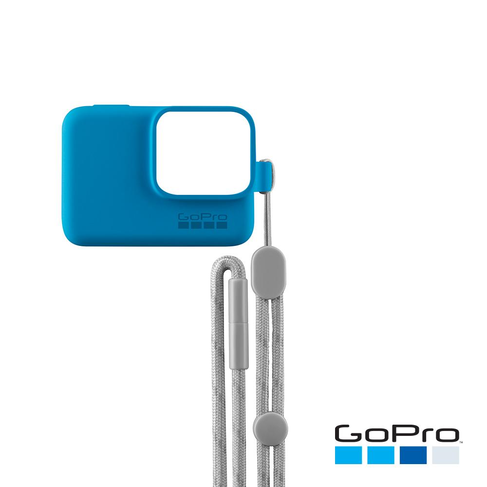 【GoPro】HERO/5/6專用矽膠護套+繫繩 藍色ACSST-003(忠欣公司貨)