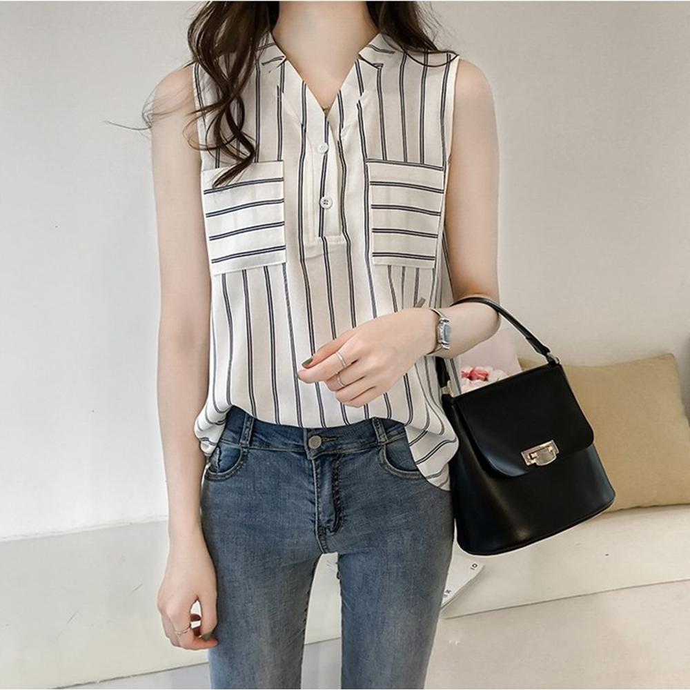 【Maya Collection】V領條紋顯瘦無袖雪紡衫 (白色)