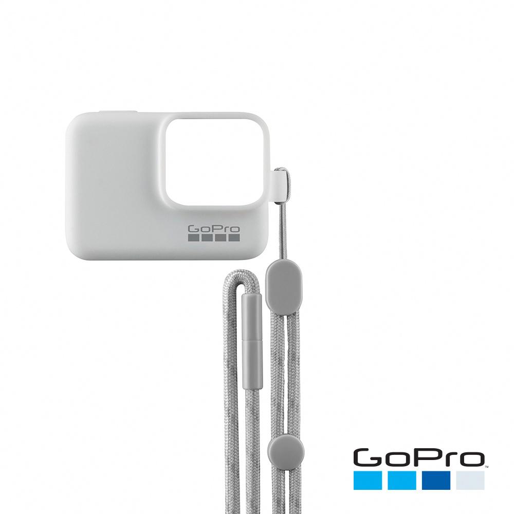 【GoPro】HERO/5/6專用矽膠護套+繫繩 白色ACSST-002(忠欣公司貨)