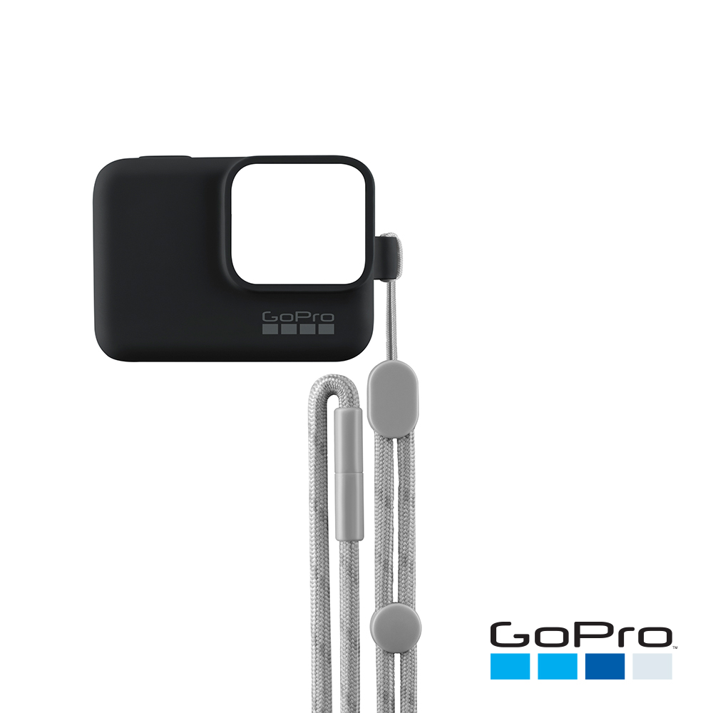【GoPro】HERO/5/6專用矽膠護套+繫繩 黑色ACSST-001(忠欣公司貨)