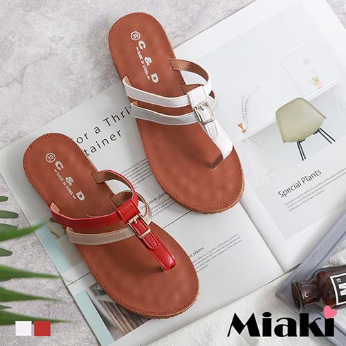 【Miaki】拖鞋.南洋沙灘百搭夾腳拖 (金紅色 / 銀白色)