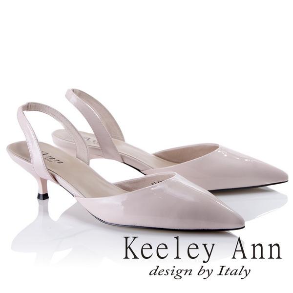 Keeley Ann俐落個性~素色漆皮質感真皮尖頭跟鞋(粉紅色824772656-Ann系列)