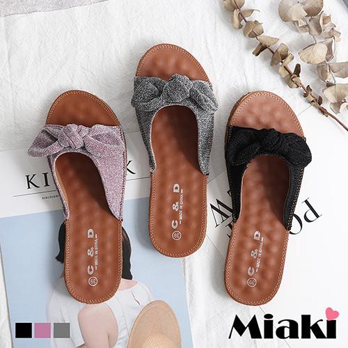 【Miaki】拖鞋.甜心教主金蔥平底涼鞋 (粉紫色 / 黑色 / 銀灰色)
