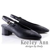 Keeley Ann歐美摩登~OL素面質感全真皮粗跟涼鞋(黑色824797110-Ann系列)