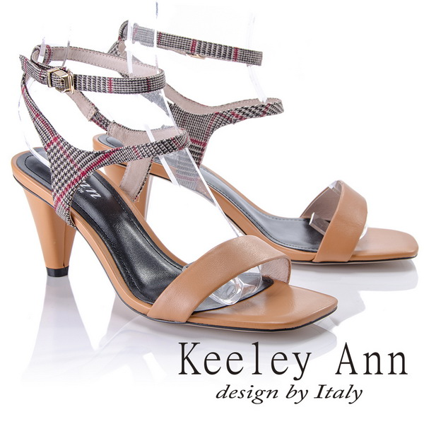 Keeley Ann摩登 ~格紋雙腳踝帶真皮軟墊高跟涼鞋 棕色822687325~Ann系