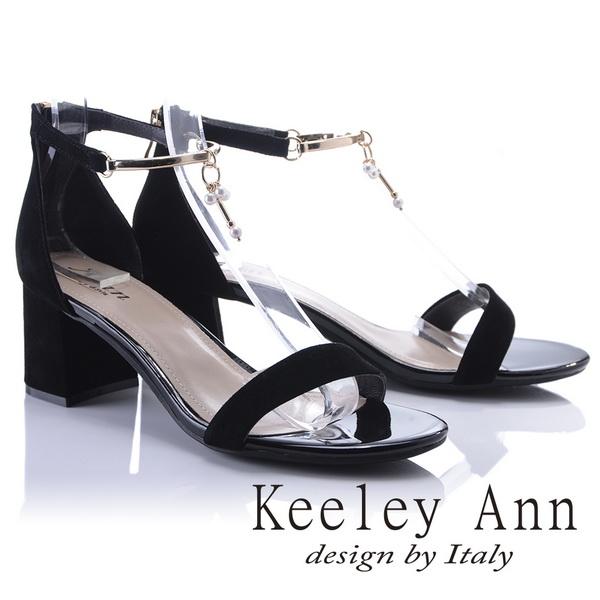 Keeley Ann宴會名媛~優雅垂墜珍珠飾釦真皮中跟涼鞋(黑色822847310-Ann系列)