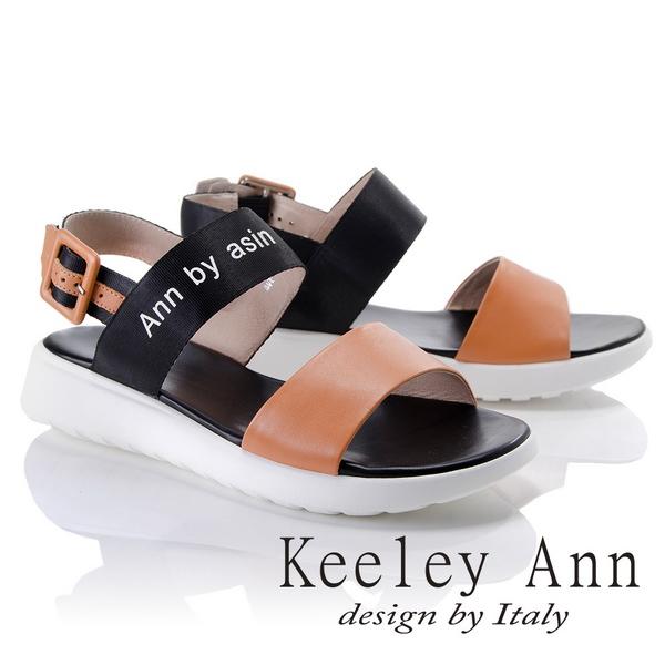 Keeley Ann韓式風潮~雙色寬帶英文字樣平底涼鞋(棕色822687125-Ann系列)