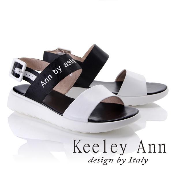 Keeley Ann韓式風潮~雙色寬帶英文字樣平底涼鞋(白色822687140-Ann系列)