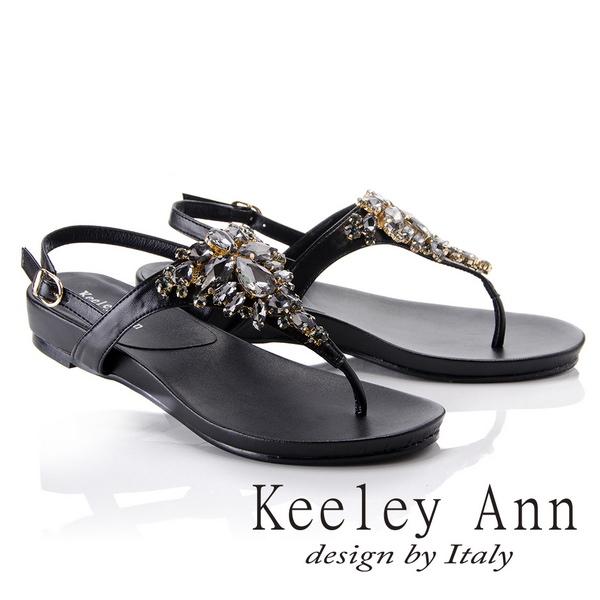 Keeley Ann璀璨光芒~奢華寶石後繫帶T字夾腳涼鞋(黑色832008710)