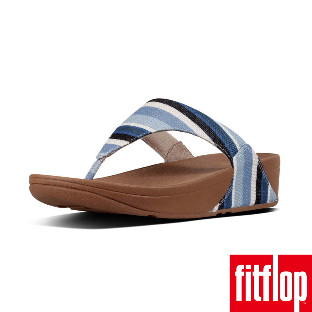 FitFlop™-LULU™ TOE-THONG SANDALS-STRIPEY CANVAS(藍色條紋)