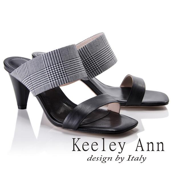 Keeley Ann簡約美感~千鳥格紋寬帶高真皮軟墊跟拖鞋(黑色821687210-Ann系列)