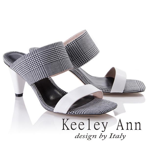 Keeley Ann簡約美感~千鳥格紋寬帶高真皮軟墊跟拖鞋(白色821687240-Ann系列)