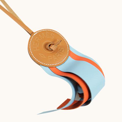 HERMES Paddock Flot Charm徽章皮革拼色吊飾 天空藍/橘色 全新品