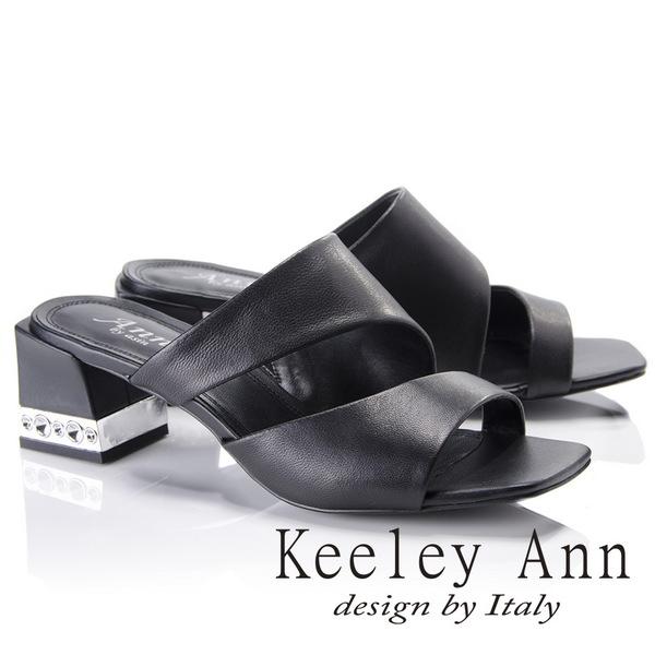 Keeley Ann美式嬉皮~極簡素面質感魚口粗跟拖鞋(黑色821772110-Ann系列)