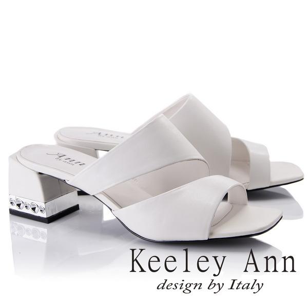 Keeley Ann美式嬉皮~極簡素面質感魚口粗跟拖鞋(白色821772140-Ann系列)