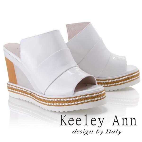 Keeley Ann漆皮質感~拼接寬帶風編織滾邊真皮楔形拖鞋(白色821542140-Ann系列)