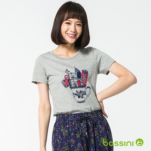 bossini女裝-印花短袖T恤56淺灰
