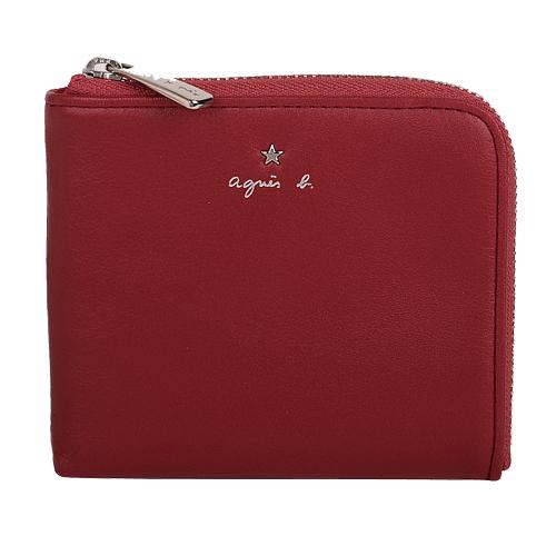 agnes b. - 星星LOGO L型皮質零錢包(紅)