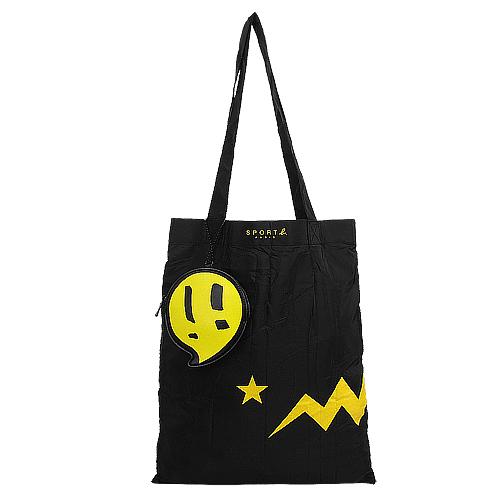 agnes b. -SPORT b. 黃閃電&星星可收納購物袋/黑(附皮革收納袋)