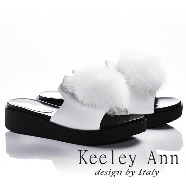 Keeley Ann俏皮甜美~毛絨兔耳造型厚底拖鞋(白色821772240-Ann系列)