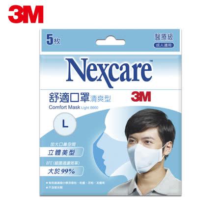 3M Nexcare清爽型舒適口罩-L(5片包)