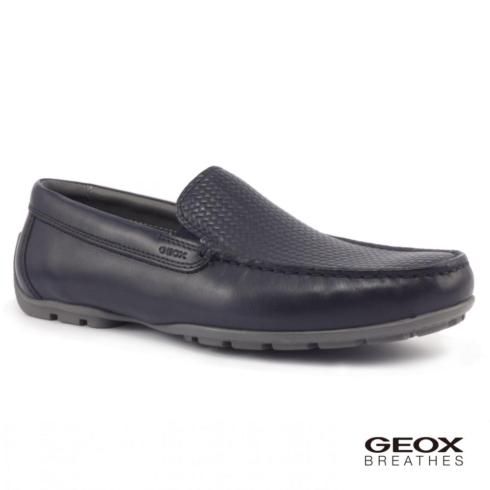 GEOX - U MONER 2FIT B 紳士鞋 編織皮鞋 海軍藍(U824YB043JM4002)