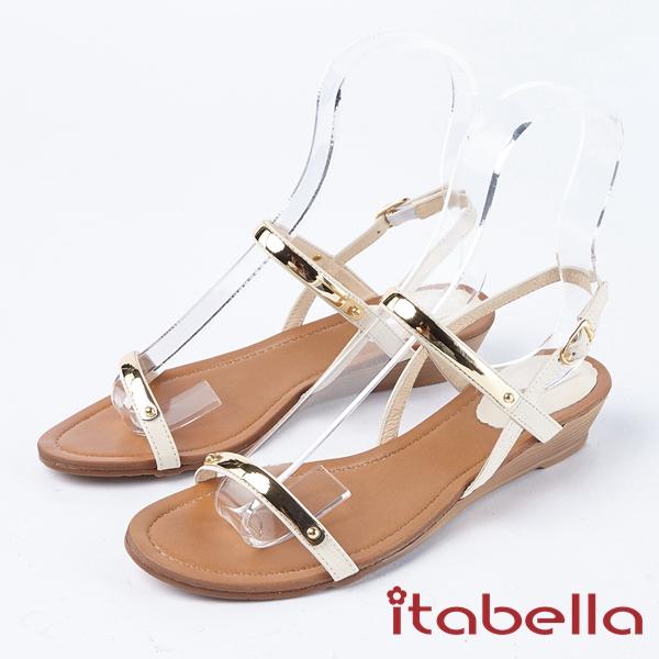 itabella.一字帶金屬飾釦涼鞋(8319-00米白)