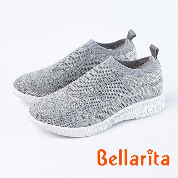 bellarita.編織水鑽麻花輕量休閒鞋(8373-85灰)