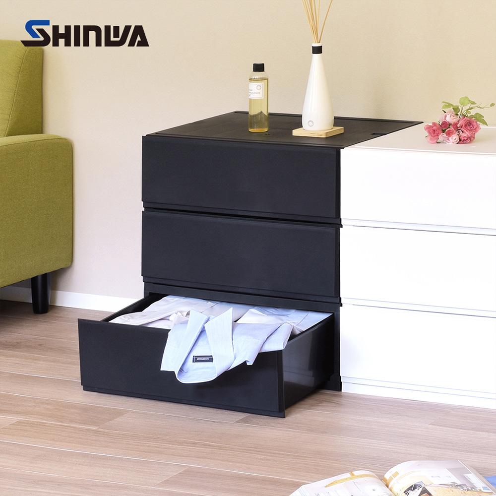 【nicegoods】日本製 Shinwa伸和 單層抽屜收納箱32L-3入-DIY
