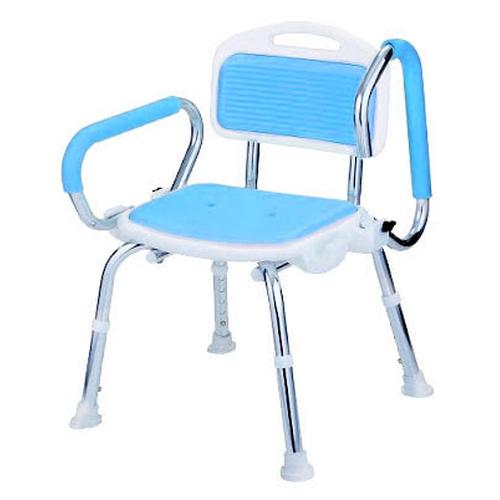 【樂齡網】EVA波浪墊+扶手有靠洗澡椅(淺藍)