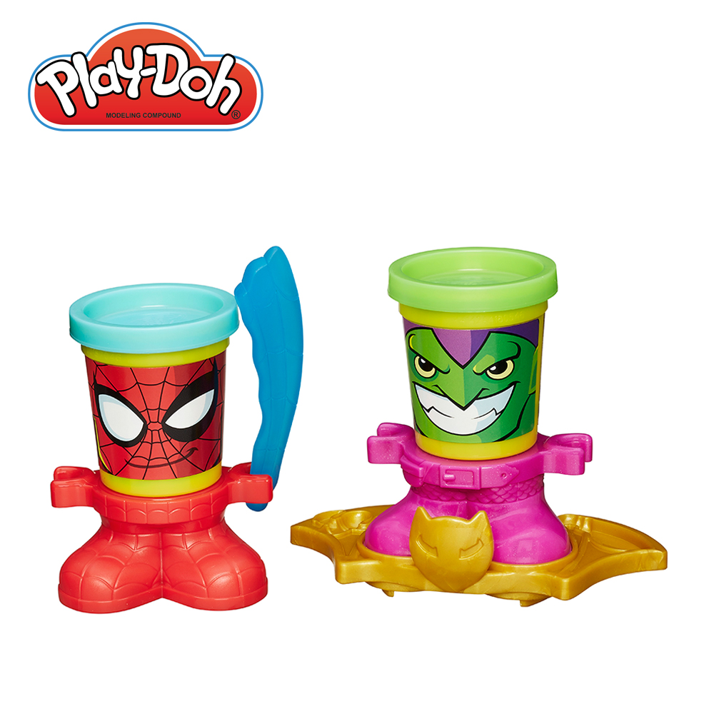 Play-Doh培樂多-漫威英雄黏土罐遊戲組-蜘蛛人與綠惡魔