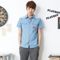 PLAYBOY-拼接牛仔短袖襯衫-淺藍色/藍色