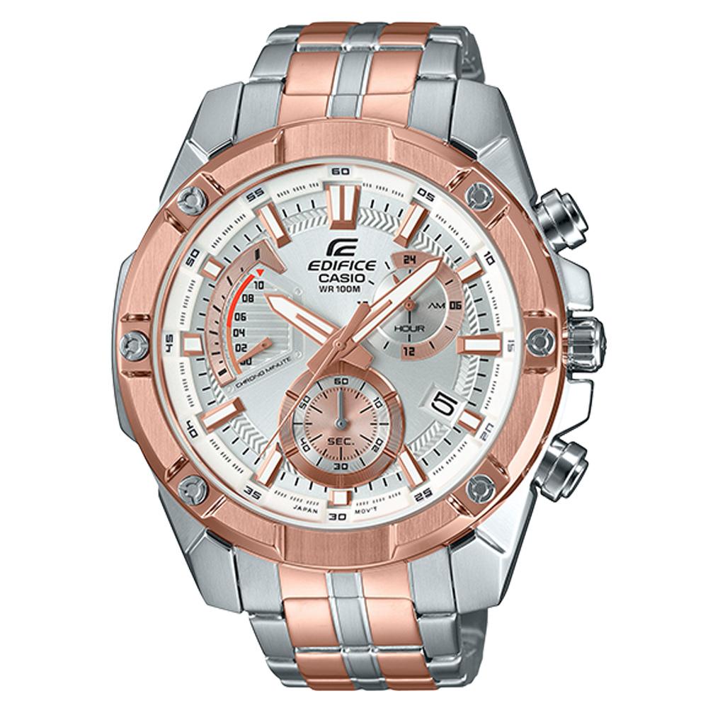 EDIFICE 經典賽車計時男錶 不鏽鋼錶帶 防水100米 日期顯示 EFR-559SG-7A