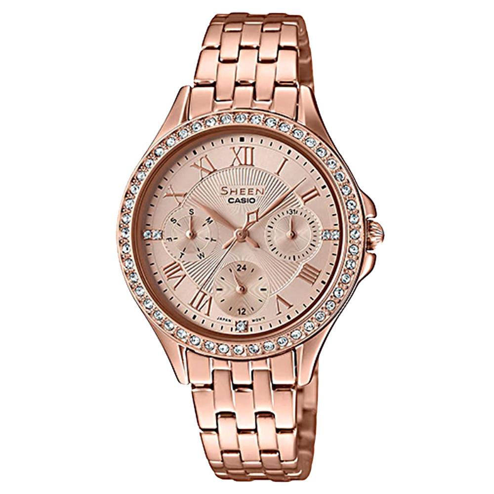 SHEEN 閃耀晶鑽三眼女錶 不鏽鋼錶帶 玫瑰金 日期/星期子盤 SHE-3062PG-9A