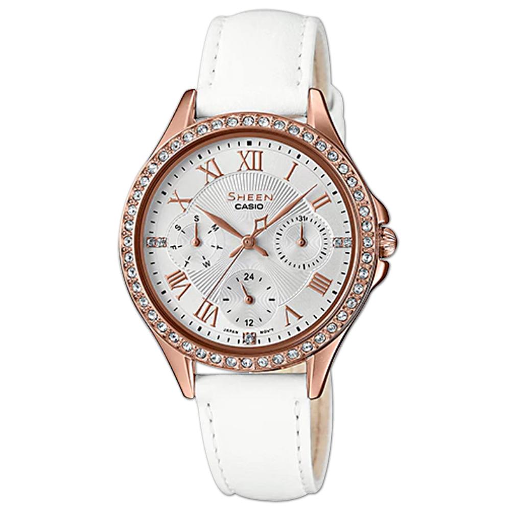 HEEN 閃耀晶鑽三眼女錶 皮革錶帶 銀色錶面 日期/星期子盤 SHE-3062PGL-7A