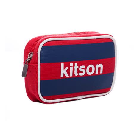 Kitson 海軍橫條化妝包-RED