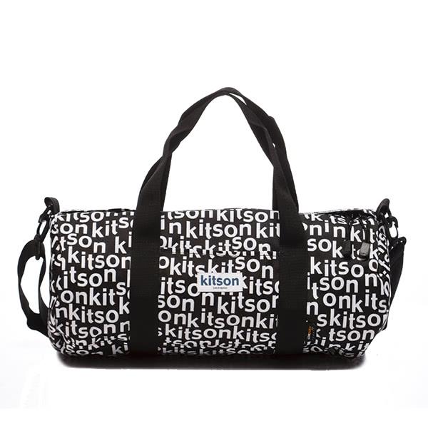 Kitson Outdoor 印花圖騰圓桶波士頓旅行包-BLACK