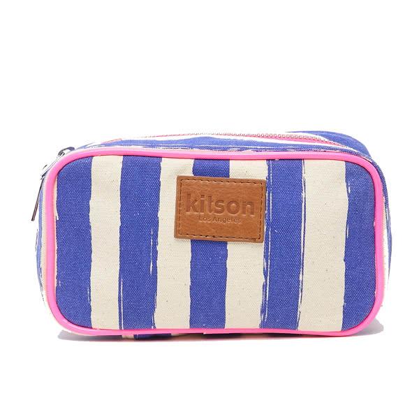 Kitson 螢光滾邊條紋化妝包(S-Blue)