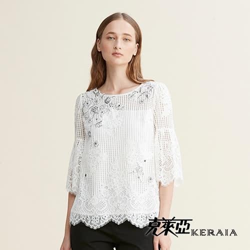 【克萊亞KERAIA】氣質貼花蕾絲小格紋上衣