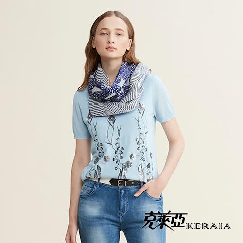 【克萊亞KERAIA】亮片繡花針織短袖上衣